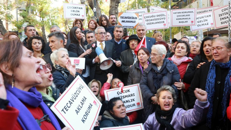 Women in Ankara Demonstrated Saturday Protesting that the proposed law would pardon men who have raped children. The RINJ Family adduces that any sex with a child is rape.