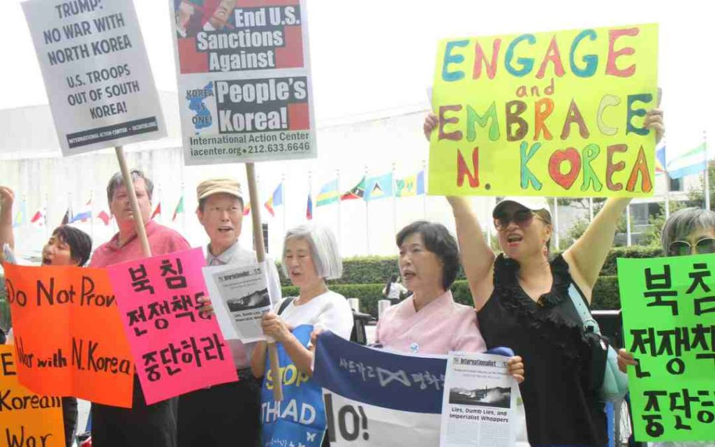 August 14, 2017 - Americans in South Korea protest against sanctions on NKorea