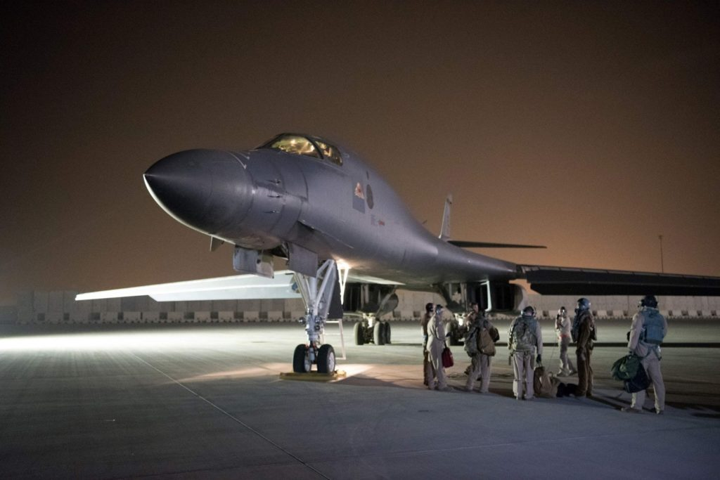 B1 Bomber in Qatar being prepared for departure. - US DOD Photo