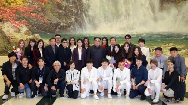 Kim Jong Un with South Korea K-pop and K-rock stars