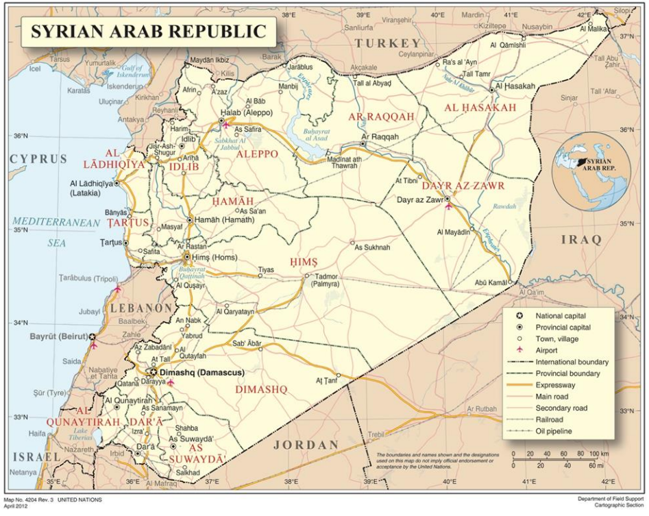 Map of Syria - UN Field Support - The RINJ Foundation