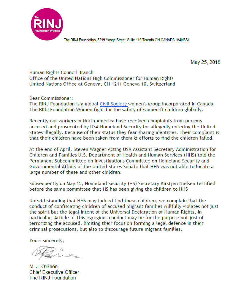 Complaint: UN Human-Rights Commission Letter re Confiscated Children of Migrants (USA)