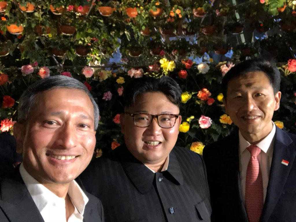 June 11, 2018 Vivian Balakrishnan with Kim Jong-un & Singaporean Education Minister Ong Ye