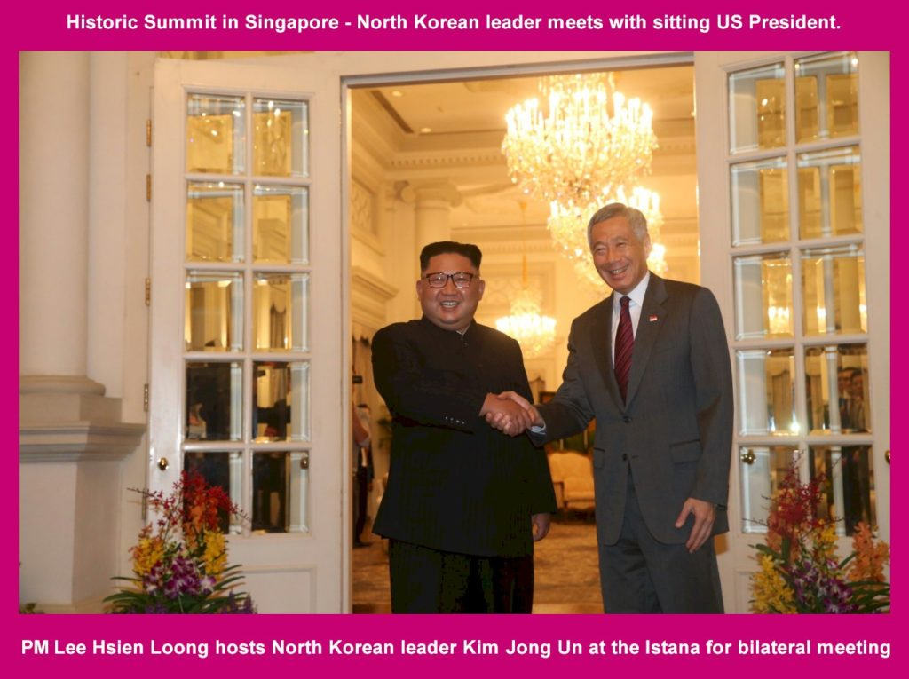 Singapore PM Lee Hsien Loong hosts North Korean leader Kim Jong Un at the Istana for bilateral meeting on June 10