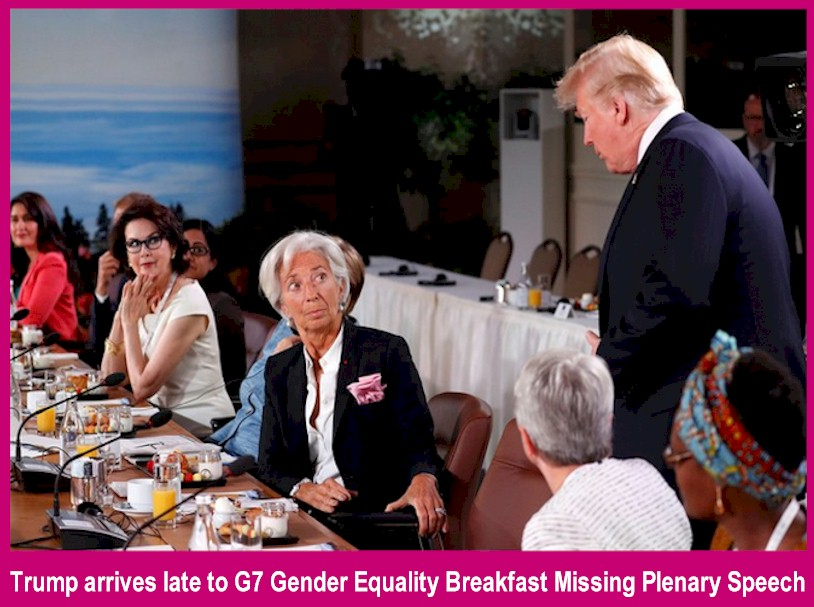 Trump Ditches Gender Equality Speech arriving late for the gender equality breakfast