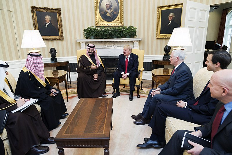 President Donald Trump and Vice President Mike Pence meet with Mohammed bin Salman bin Abdulaziz Al Saud, Deputy Crown Prince of Saudi Arabia, and members of his delegation, Tuesday, March 14, 2017, in the Oval Office of the White House in Washington, D.C. - Photo Credit: Shealah Craighead