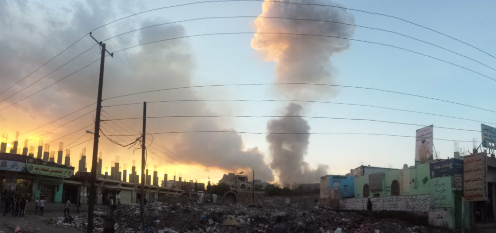 The bombing of Sanaa on 11 May 2015. Photo by Ibrahem Qasim on May 11, 2015