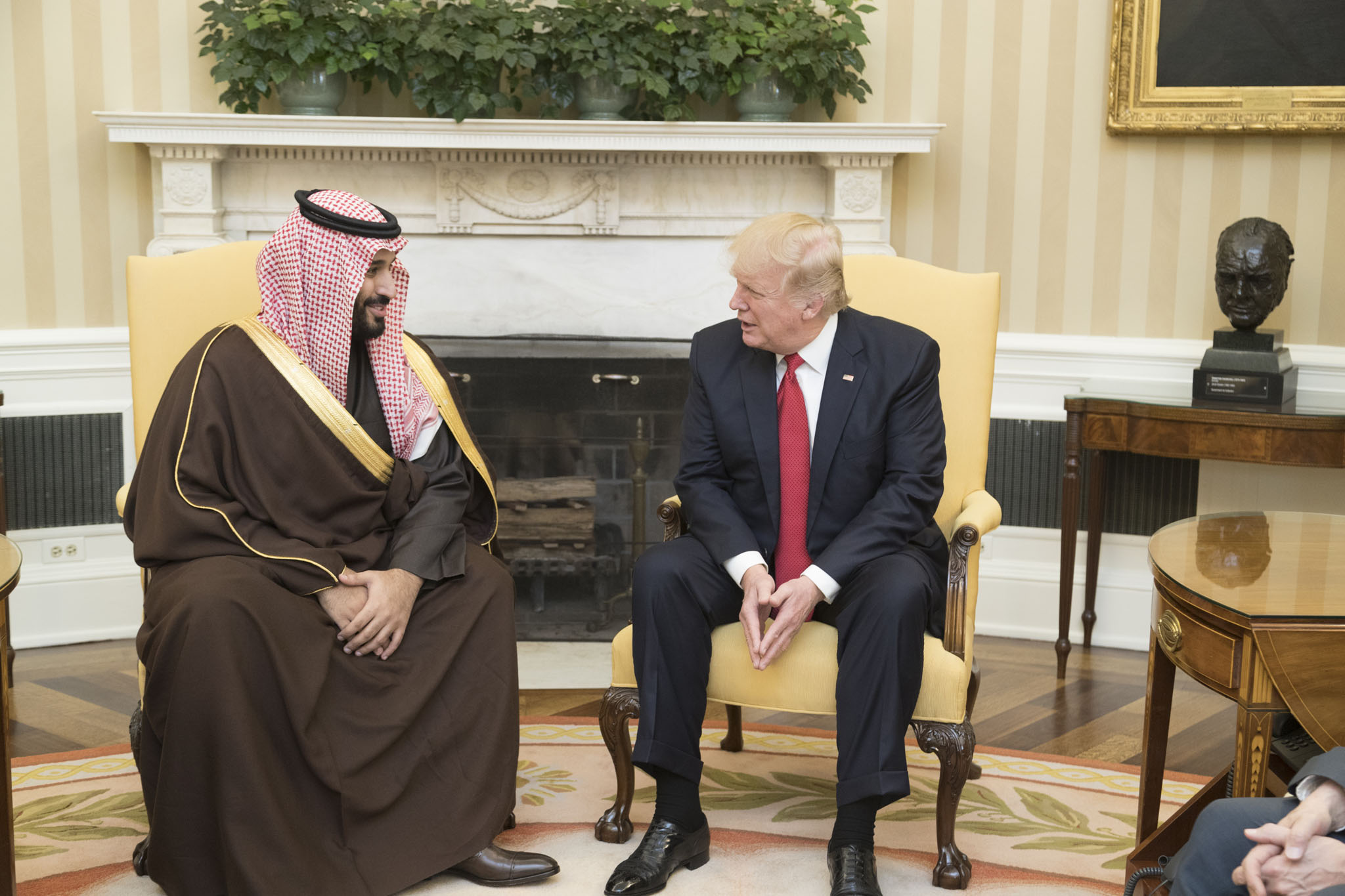 Donald Trump and Mohammad bin Salman Al Saud in the Oval Office, March 14 2017