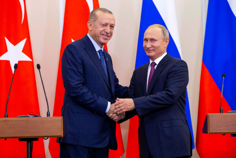 Recep Erdogan and Vladimir Putin in Sochi, a city in Krasnodar Krai, Russia, located on the Black Sea coast near the border between Georgia/Abkhazia and Russia