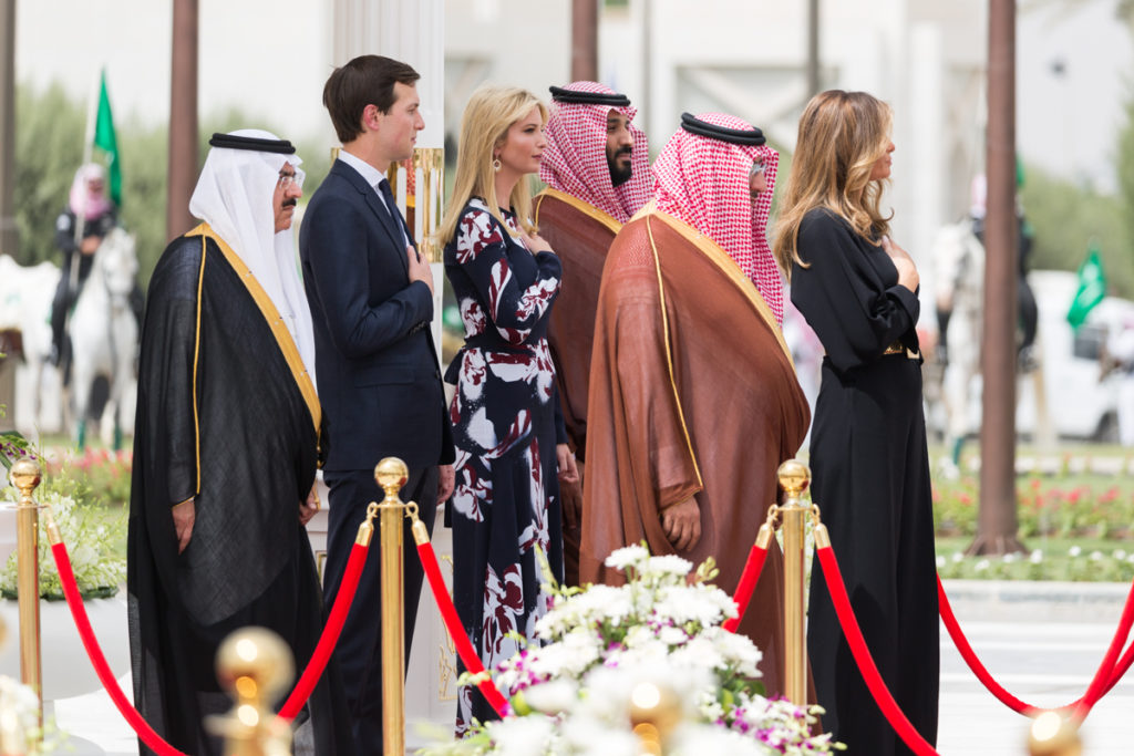 First Lady Melania, joined by White House Senior Adviser Jared Kushner and Assistant to the President Ivanka Trump, participate in the arrival ceremonies, Saturday, May 20, 2017, at the Royal Court Palace in Riyadh, Saudi Arabia. (Official White House Photo Shealah Craighead)
