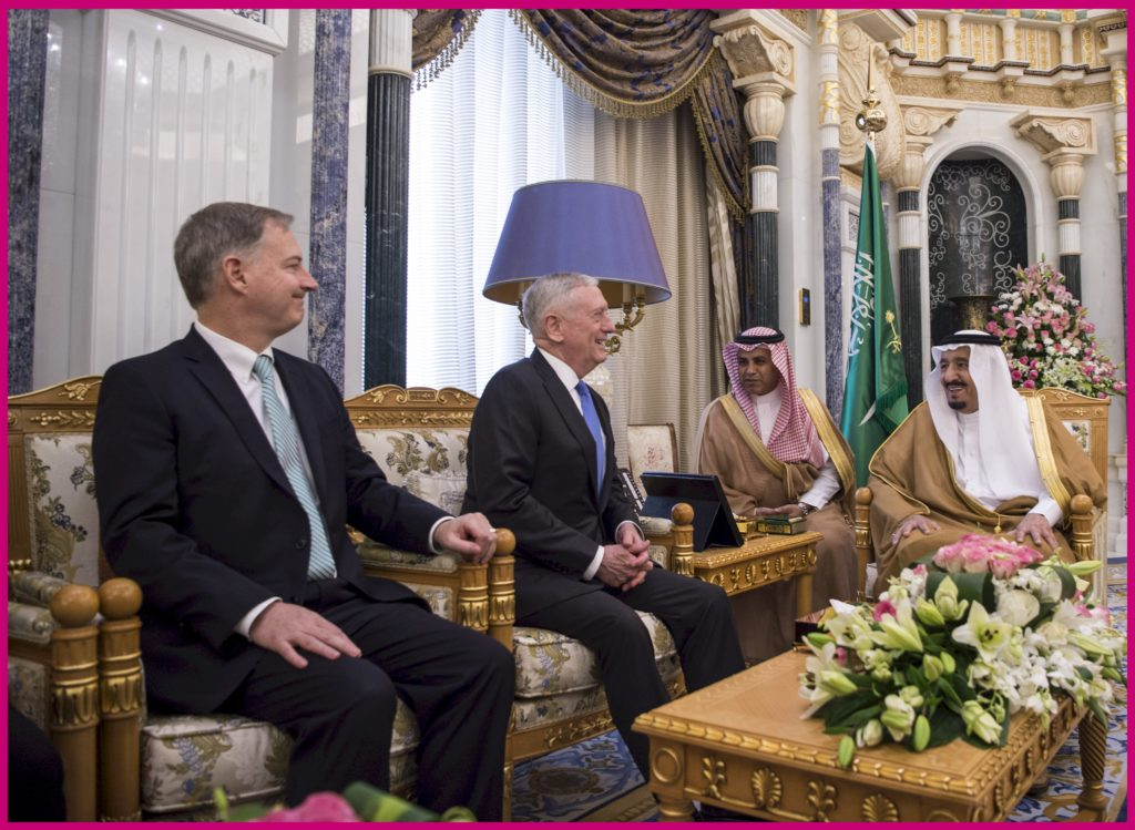 Secretary of Defense Jim Mattis meets with Saudi Arabia's King Salman Bin Abdulaziz Al-Saud in Riyadh, Saudi Arabia, April 19, 2017. (DOD photo by U.S. Air Force Tech. Sgt. Brigitte N. Brantley)