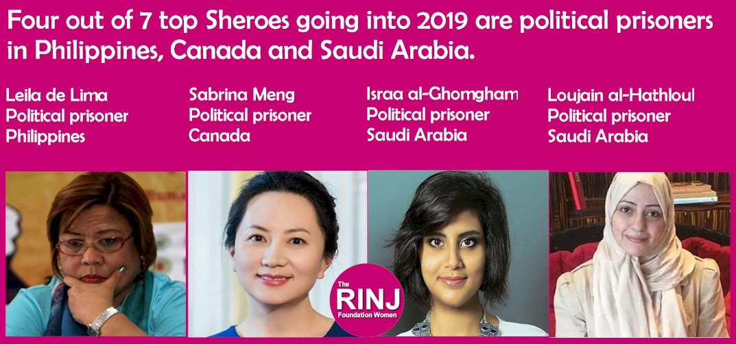 Four out of 7 top Sheroes going into 2019 are political prisoners in Philippines, Canada and Saudi Arabia.
