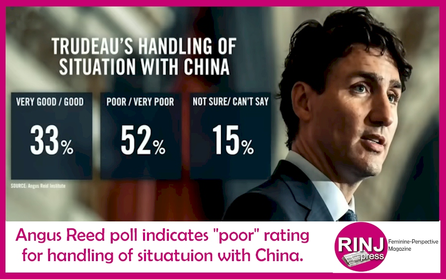 Trudeau facing national disfavour over management of China/Meng affair