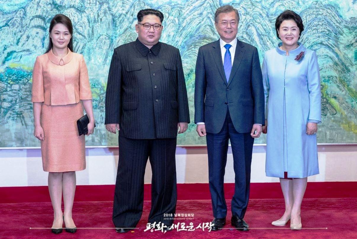 Ri Sol-ju, Kim Jong-un, Moon Jae-in, and Kim Jong-sook during the 2018 inter-Korean summit - Date27 April 2018 Panmunjom