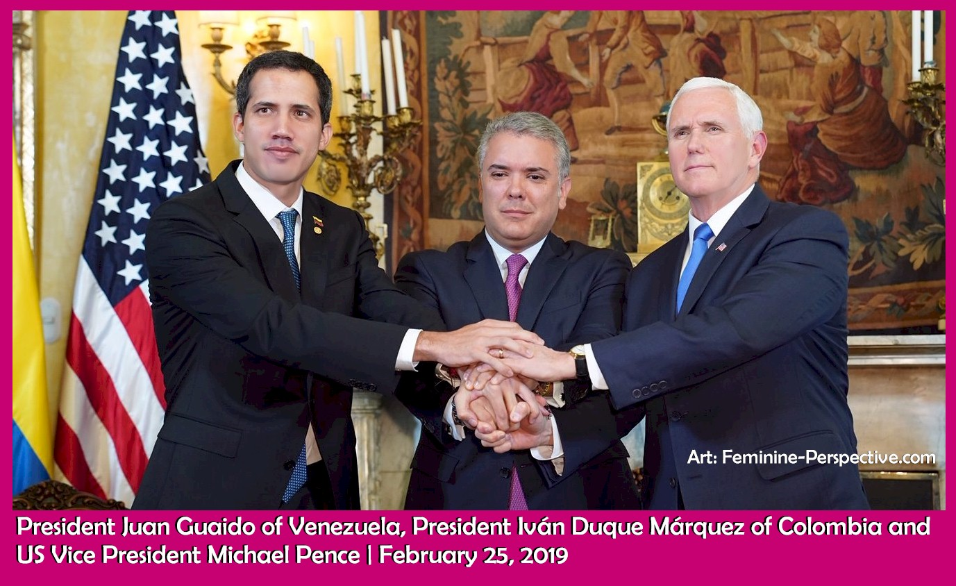President Juan Guaido of Venezuela, President Iván Duque Márquez of Colombia and US Vice President Michael Pence | February 25, 2019