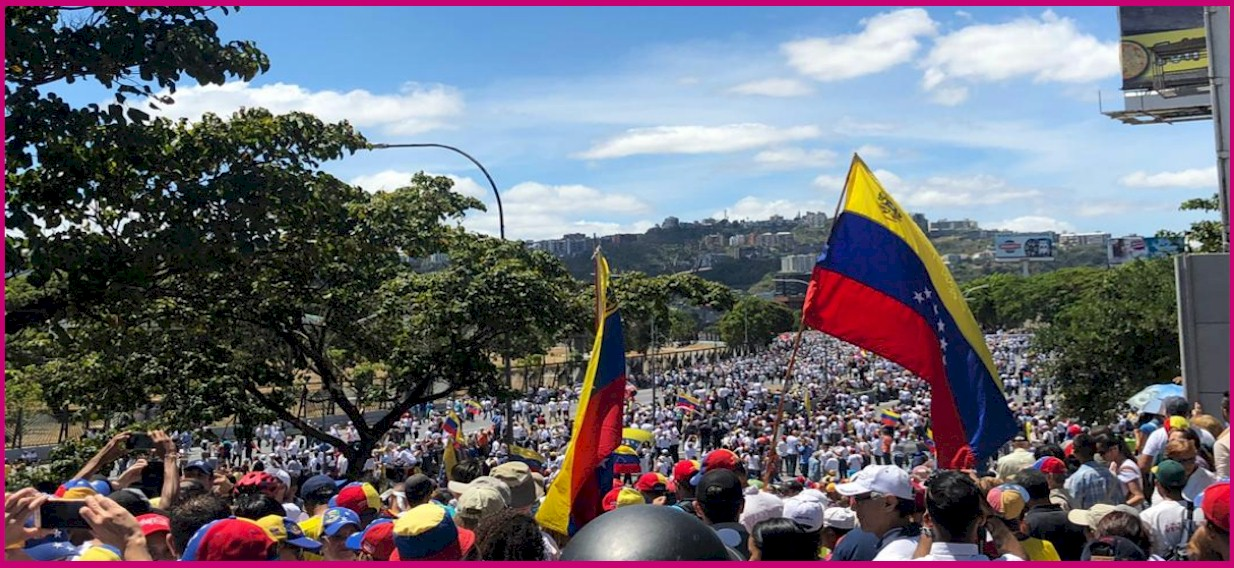 A million volunteers supporting Constitutionally-Appointed Interim President Juan Guaido and seeking an opportunity to deliver the Humanitarian Aid that has been flown into COlombia while Maduro's Military Junta has closed Caracas' Airport.