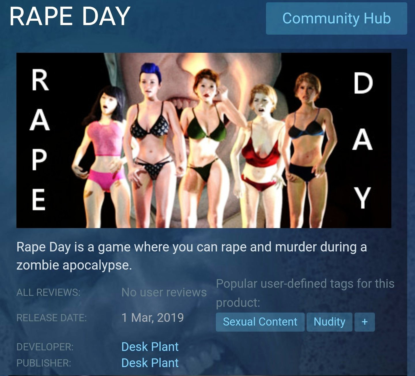 Rape Day was taken off the Steam Site