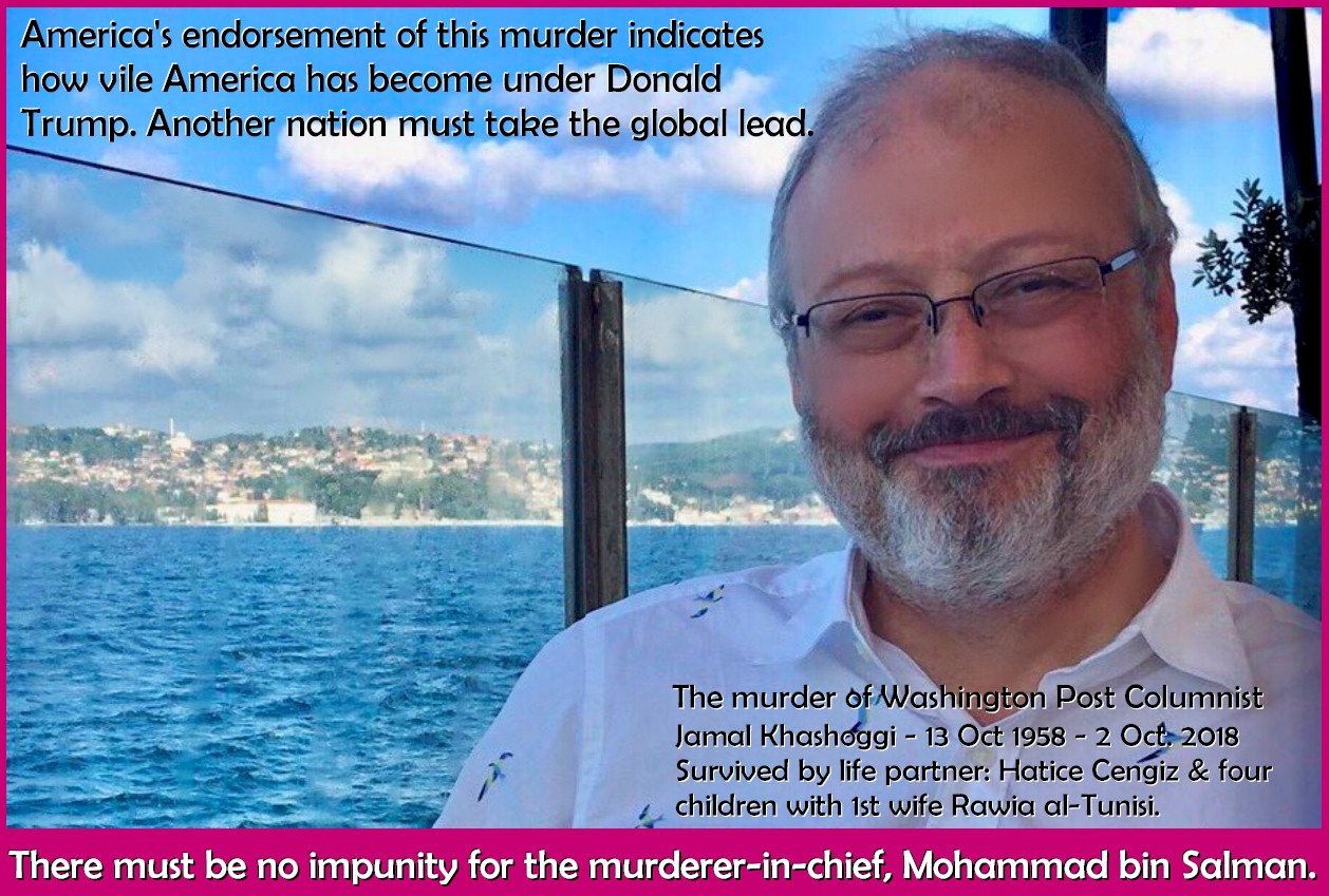 America's de facto endorsement of this murder indicates how vile America has become under Donald Trump. Another nation must take the global lead. Photo Credit: Original, Twitter Art: Rosa Yamamoto, Feminine Perspective Magazine