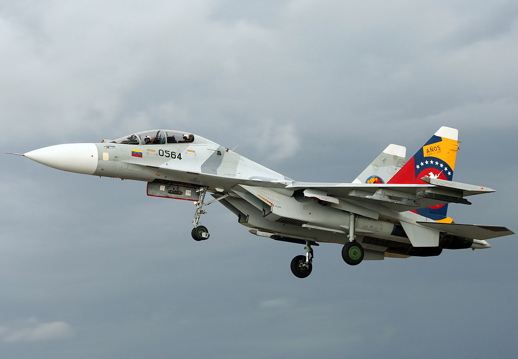 Venezuelan Air Force Sukhoi Su-30MK2, decorated in G-13 5th Anniversary & Venezuela Independence Bicentennial special tail art, landing at Barcelona, Venezuela.
