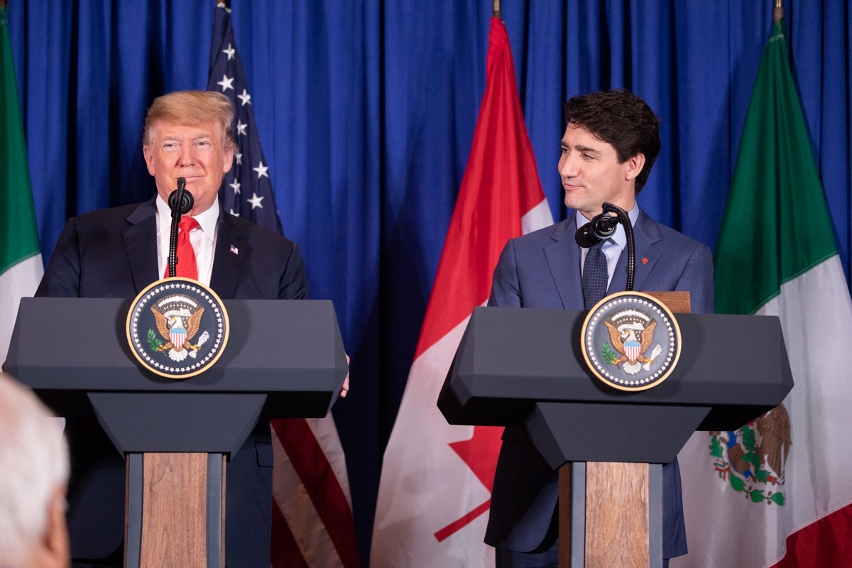 Looks Weird: President Donald J. Trump and Canadian Prime Minister Justin Trudeau