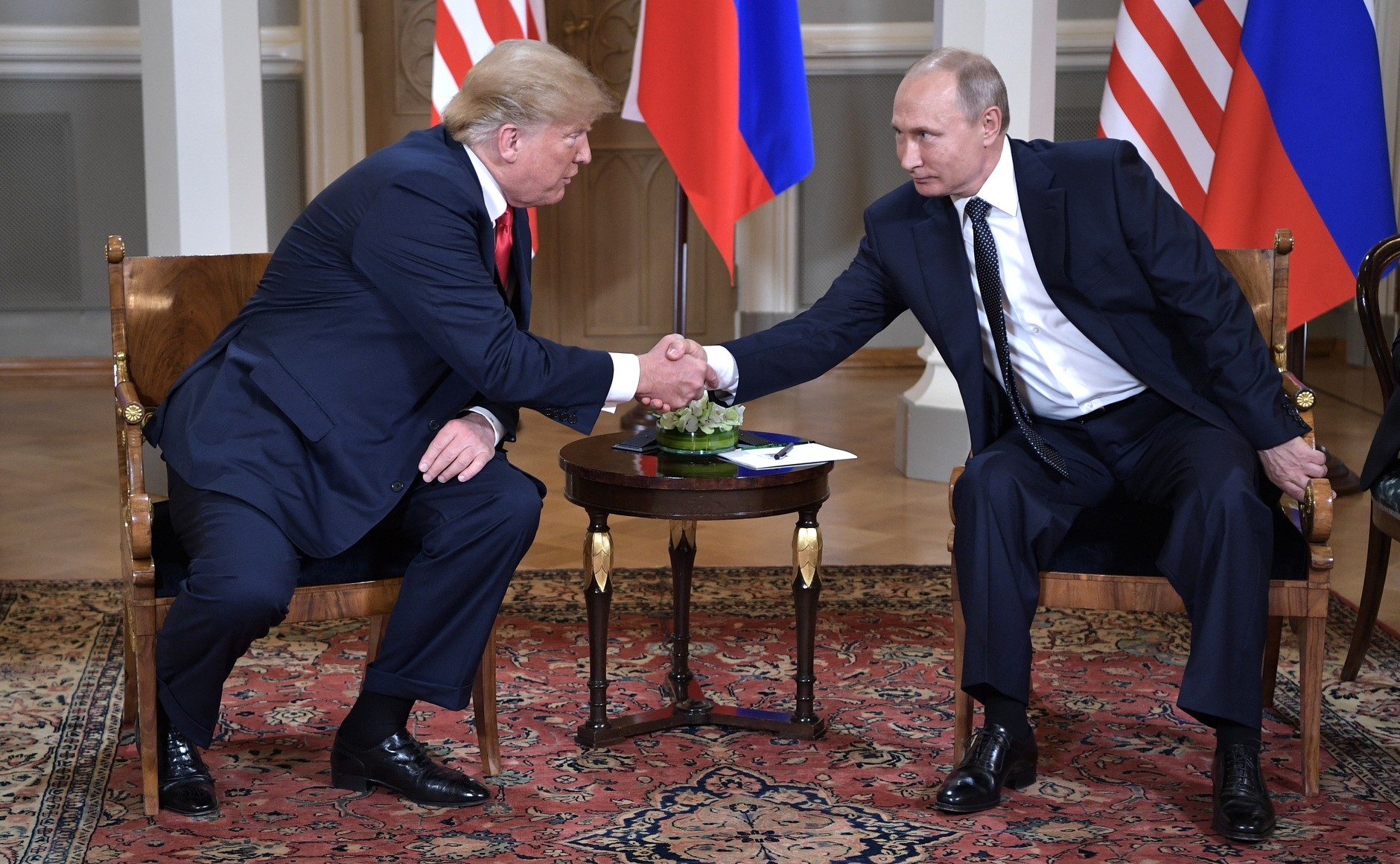 U.S. President Donald Trump (left) and Russian President Vladimir Putin (right) meet in Helsinki, Finland in July 2018. Photo Credit: Kremlin.ru