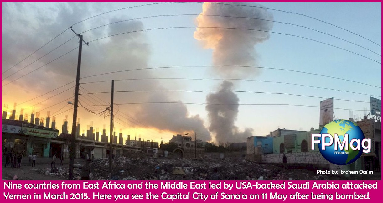 March 11, 2015 Sana'a Yemen under bombardment after being invaded by nine countries from East Africa and the Middle East