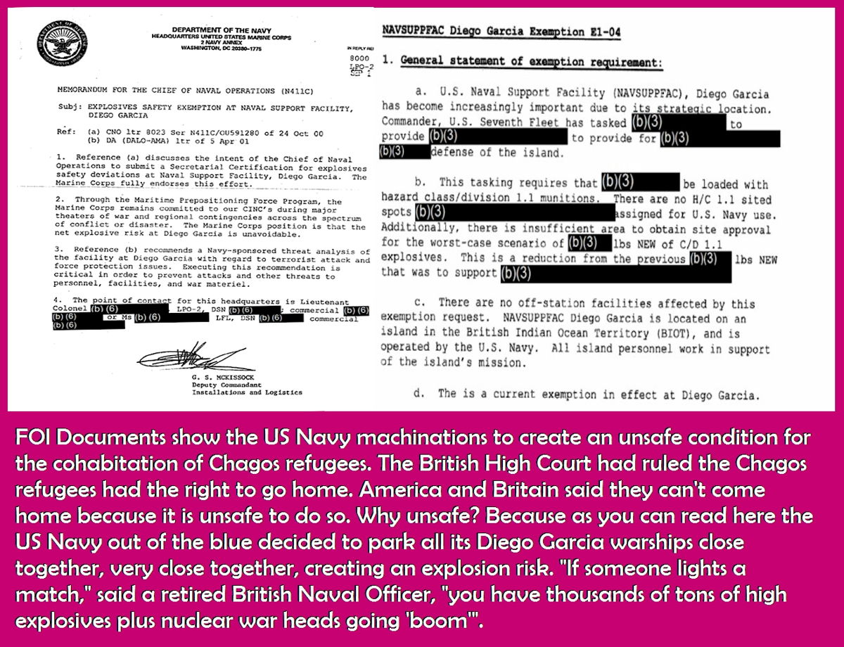 FOI Documents show the US Navy machinations to create an unsafe condition for the cohabitation of Chagos refugees.