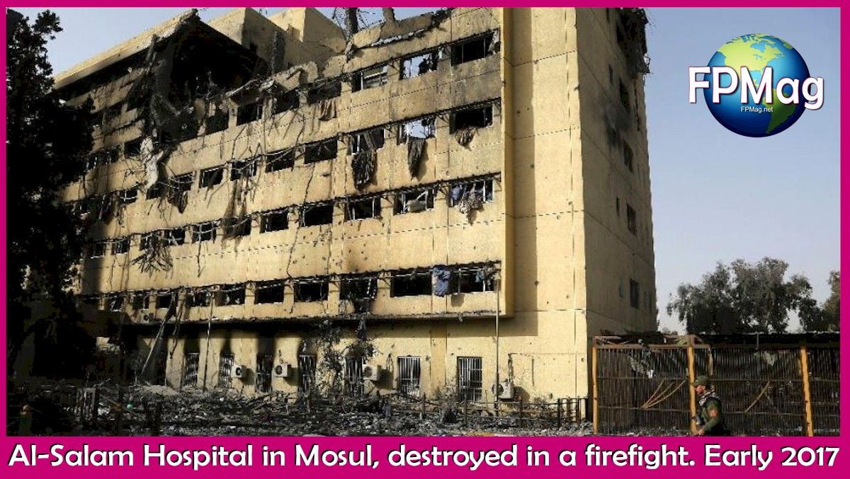 Al-Salam Hospital in Mosul, destroyed in a firefight. Early 2017