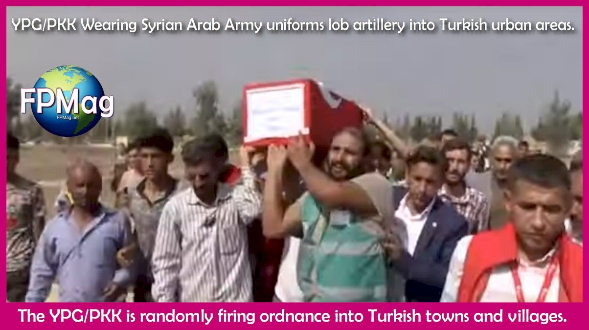 YPG/PKK Wearing Syrian Arab Army uniforms lob artillery into Turkish urban areas.