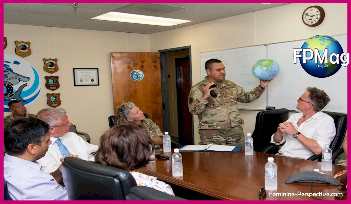 Maj. Jesse Diaz, 21st Space Operations Squadron, Detachment 1 commander, briefs members of British Parliament on the role of Det 1 in the Air Force Satellite Control Network during a visit to Diego Garcia, British Indian Ocean Territory, Aug. 29, 2019. The Parliament members visited the site to gain an understanding of the support the United Kingdom provides to the space mission at Diego Garcia. (U.S. Air Force courtesy photo)