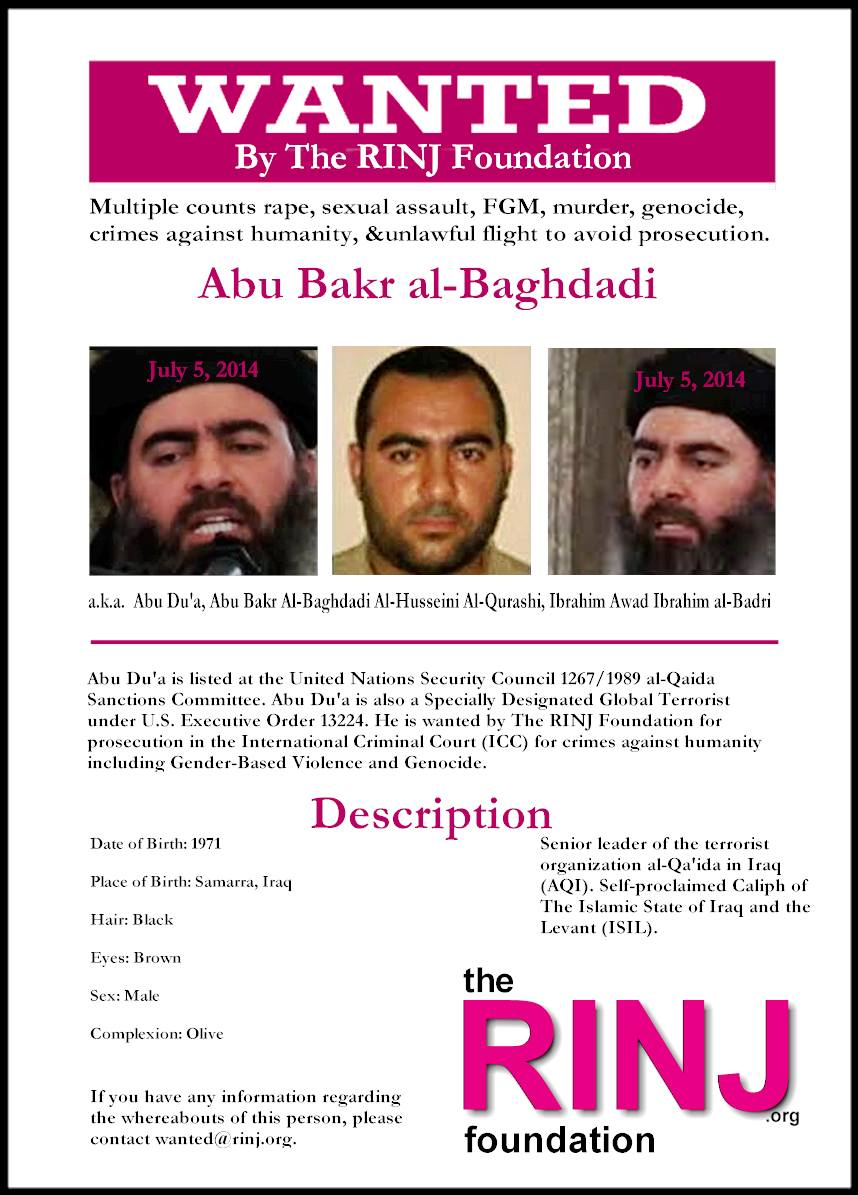 2014 Poster published by The RINJ Foundation Women. None of the women wanted to comment on Baghdadi's alleged suicide as announced by Donald Trump this morning.