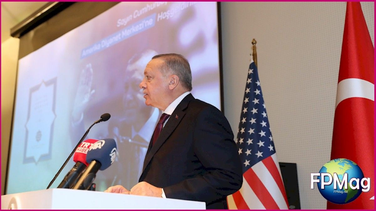 Erdogan spoke at length to a standing-room only gathering of Turkish-American community representatives who excitedly packed the Diyanet Center of America in Washington DC, Wednesday night. Photo Credit: Presidency of the Republic of Turkey Photo Art/Cropping/Enhancement: Rosa Yamamoto FPMag