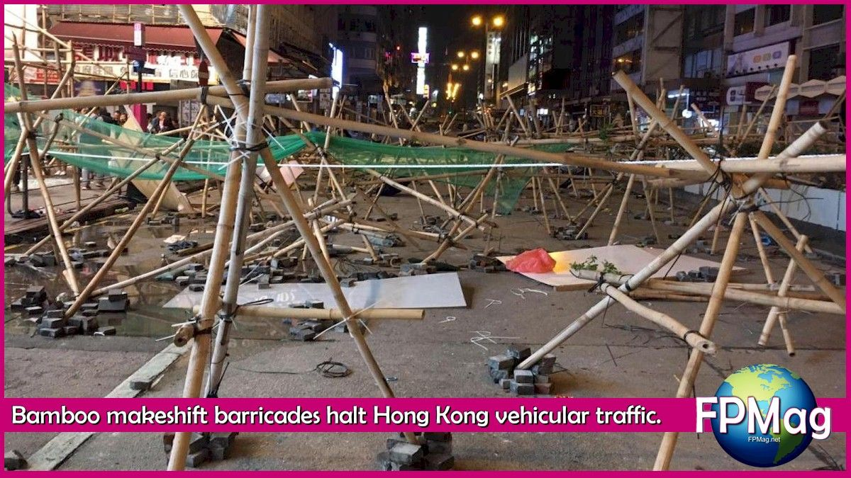 Makeshift barricades of bamboo are killing the regular traffic flow in the city.