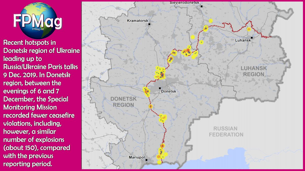 Recent hotspots in Donetsk region of Ukraine leading up to Russia/Ukraine Paris talks 9 Dec. 2019. In Donetsk region between the evenings of 6 and 7 December the Special Monitoring Mission recorded fewer ceasefire violations, including, however, a similar number of explosions --about 150-- compared with the previous reporting period.