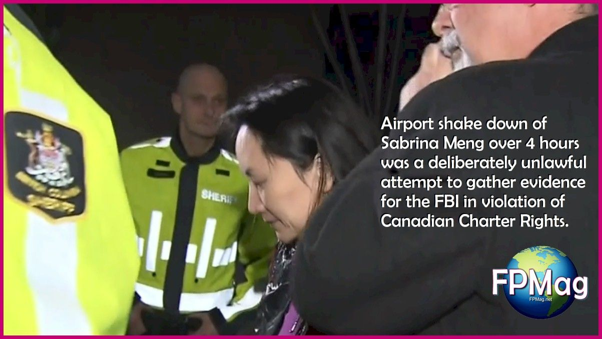 Airport shake down of Sabrina Meng over 4 hours was a deliberately unlawful attempt to gather evidence for the FBI in violation of Canadian Charter Rights. Photo credit: Court-released video