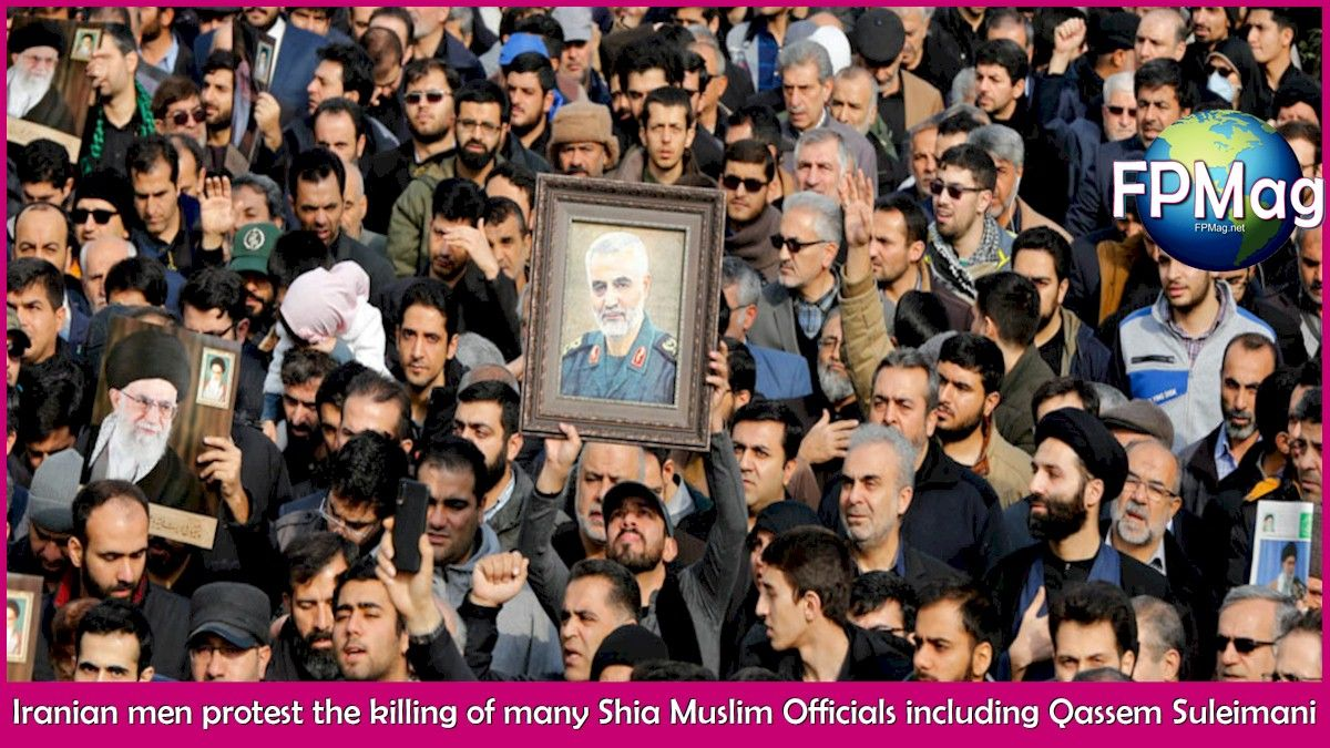 Iranian men protest and mourn the loss of a hero, the man who fought down the Islamic State insurgency, Qassem Suleimani.