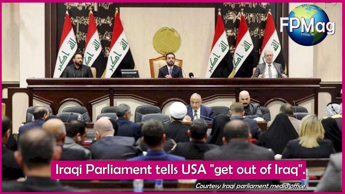"""Iraqi Parliament tells USA """"get out of Iraq"""". Courtesy Iraqi parliament media office."""