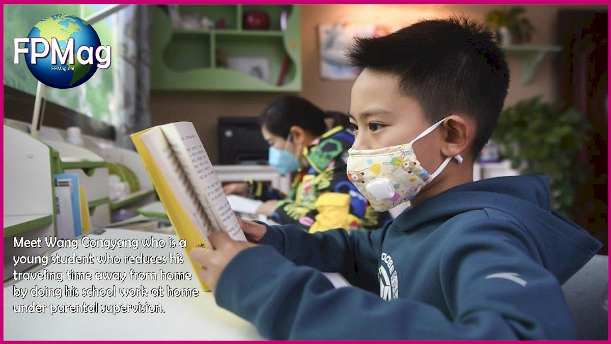Meet Wang Congyang who is a young student who reduces his traveling time away from home by doing his school work at home under parental supervision.