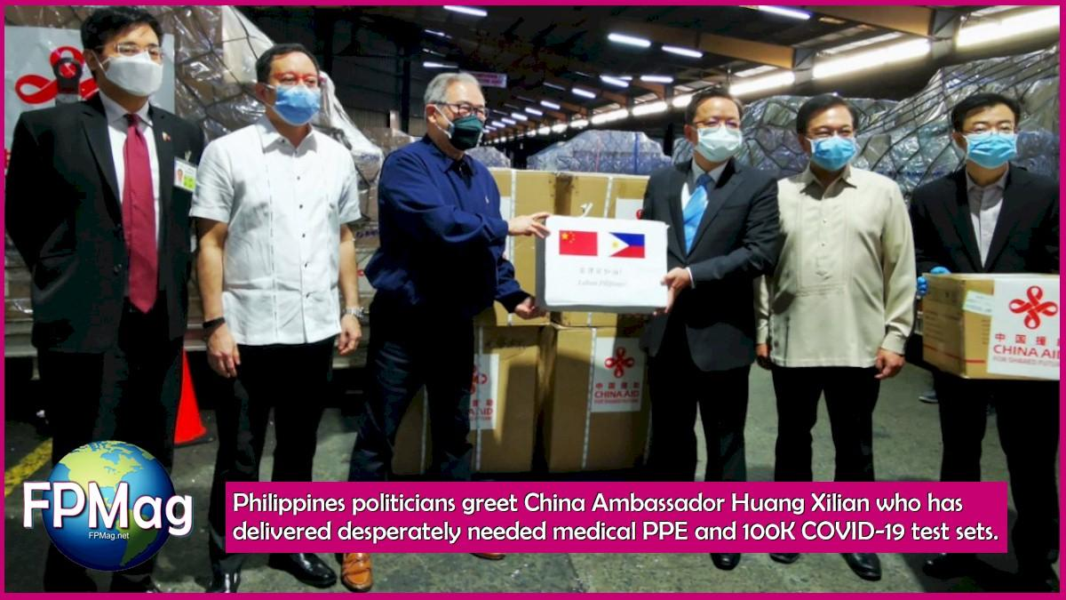 Philippines politicans greet China Ambassador Huang Xilian who has delivered desperately needed medical PPE and 100K COVID-19 test sets.