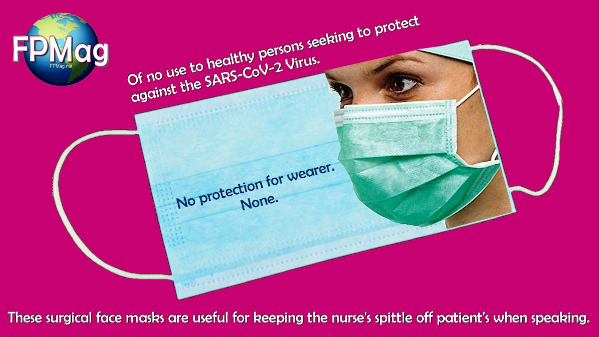 These surgical face masks are useful for keeping the nurse's spittle off patients when speaking.