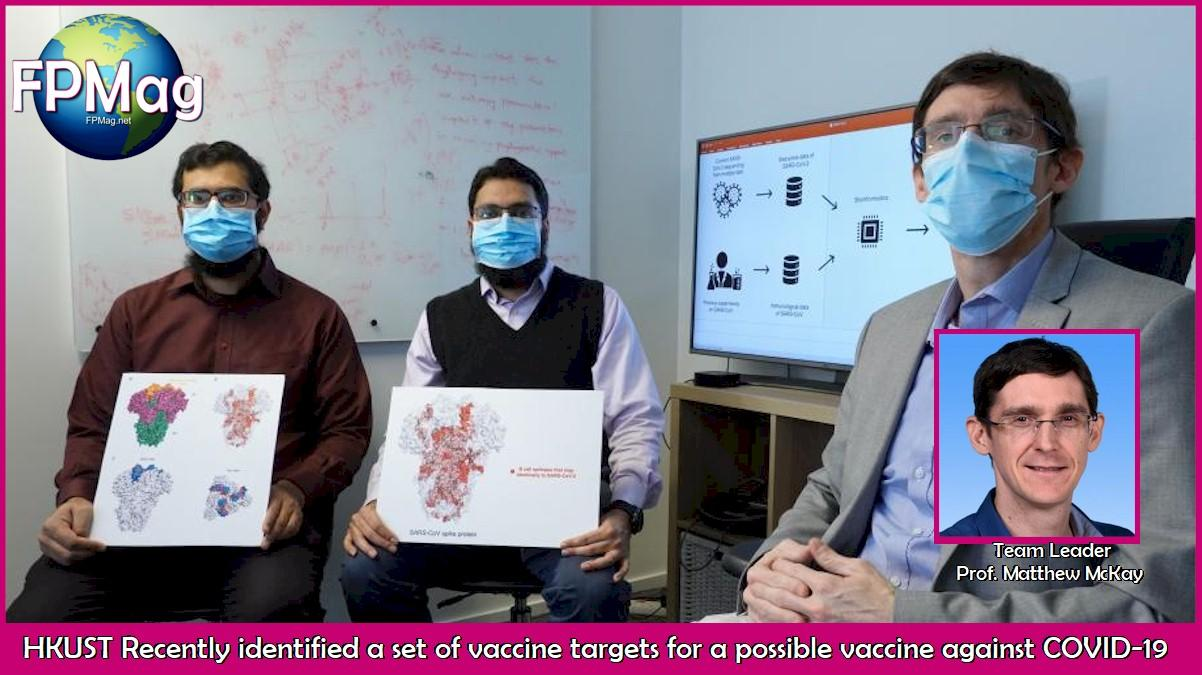 The research team (from right) – Prof. Matthew McKay, Professor at HKUST's Department of Electronic & Computer Engineering and Department of Chemical & Biological Engineering; Dr. Ahmed Abdul Quadeer, Research Associate at the Department of Electronic & Computer Engineering; and Mr. Syed Faraz AHMED, PhD student – recently identified a set of potential vaccine targets which could be helpful for the development of a vaccine against the SARS-CoV-2 coronavirus.