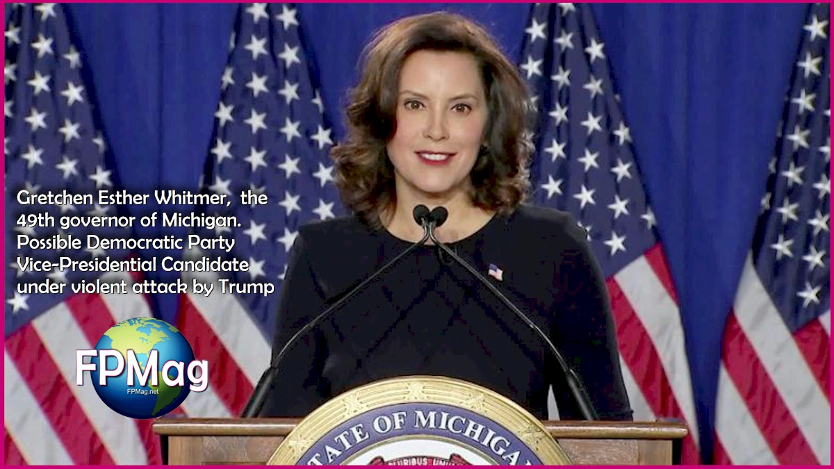 Gretchen Esther Whitmer, the 49th governor of Michigan. Possible Democratic Party Vice-Presidential Candidate under violent attack by Trump