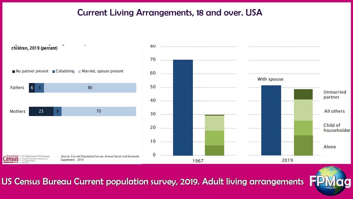 US Census Bureau Current population survey, 2019. Adult living arrangements